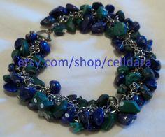 "Malachite & Lapis Lazuli Stone Chip ""Charm Style"" Bracelet by CellDara on Etsy"