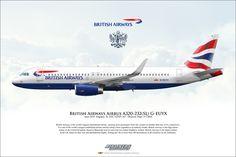 British Airways Airbus A320-232 G-EUYX Airliner Profile Art