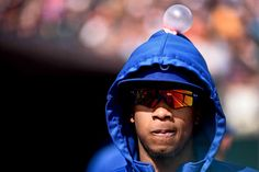 Bubble trouble - Kansas City Royals starting pitcher Yordano Ventura is unaware of a bubblegum bubble that was placed on his head during a game against the Detroit Tigers on Sept. 20 in Detroit. - © Tim Fuller/USA TODAY Sports