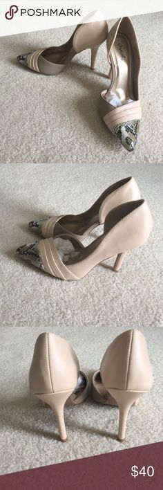 Nude heels Never worn. This purchase also comes with a free tube of lip gloss! Just comment 1-6 below when purchasing! Heels measures 4. Qupid Shoes Heels