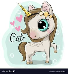 Illustration of Cute Cartoon Unicorn on a blue background vector art, clipart and stock vectors. Cartoon Cartoon, Kids Cartoon Characters, Cartoon Unicorn, Unicorn Art, Cute Images, Cute Pictures, Unicorn Pictures, Unicorns And Mermaids, Disney And More