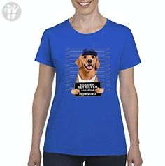 Ugo Golden Retriever Mugshot Birthday Xmas Humor Gift Match W Dog Food Dog Treats Toys Women's T-shirt Tee - Birthday shirts (*Amazon Partner-Link)