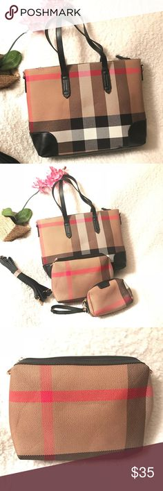 🔥Women Handbags Trendy Plaid Faux Leather 🔥 Trendy Plaid Faux Leather Elbow Shoulder Bag with Purse, Makeup Bag, Tote, 3-in-1 Set (please note that the plaid stripe design varies between each bag) Zipper Closure with Lots of Room to Store Purse, Wallet, Makeup, Phone and other essentials Package includes 3 different types of bags to suit all occasions. The tote bag comes with a separate shoulder leather strap which can be attached to the handbag Dimensions:✨16.9 x 13 x 1.6 inches✨ Bags…
