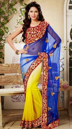 USD 105.53 Blue Net Embroidered Party Wear Saree 28952