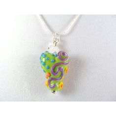 Necklace heart green multi glass art lampwork bead with crystals (€27) ❤ liked on Polyvore featuring jewelry and necklaces
