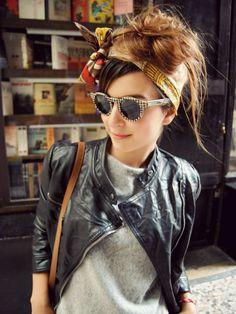 headscarves + sweatshirts + black leather.