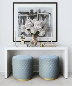TOV Furniture Modern Abir Grey Velvet Ottoman - The Abir features elegant diamond tufting in sumptuous grey or light blue velvet and sits atop a glam brushed gold base. Place the Abir anywher Cool Furniture, Living Room Furniture, Modern Furniture, Living Room Decor, Bedroom Decor, Rustic Furniture, Furniture Stores, Antique Furniture, Furniture Outlet