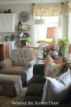 Before & After Reupholstered Chair and Pillows | Beyond the Screen Door