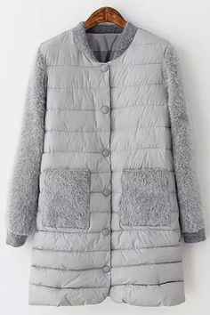 Faux Fur Spliced Stand Neck Coat