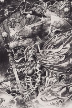 Hela and Fenris Wolf (Anacleto), in Peter Pein's ANACLETO, Jay - Pencils Comic Art Gallery Room