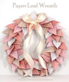 Popper and Mimi Paper Crafts: Pretty Paper Leaf Wreath