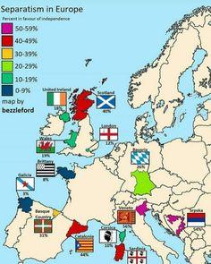 Independence movements through Europe  Follow and like for more   #maps #map #geography #facts #amazing #freedom #idependencemovements #europe #europeanunion #unitedireland #scotland #wales #london #bavaria #brittany #galicia #catalonia #basquecountry #veneto #corsica #sardinia #therepublicofsrpska #uk #france #spain #germany #italy #portugal #portugal #bosniaandherzegovina