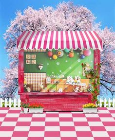Korean cartoon cloth background Curtain Pictorial cloth Vinyl computer printed Backgrounds Fabric For Photo Studio Garden Playhouse, Material Flowers, Studio Backdrops, Paint Background, Flowering Trees, Photo Backgrounds, Pink Fashion, Play Houses, Photo Studio