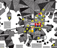 A bit too illustrationy styles for my liking but the yellow against the black works well. It has a lot of texture in it and that's something that I feel my designs lack. Try more texture effects in development. Marimekko map of Helsinki Map Design, Sign Design, Graphic Design, Marimekko Fabric, City Maps, Textile Artists, Minimalist Art, Map Art, Fotografia
