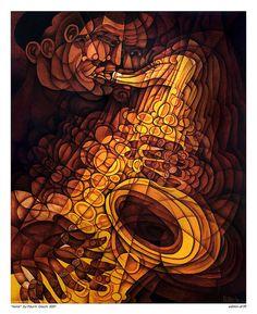 Painting of John Coltrane