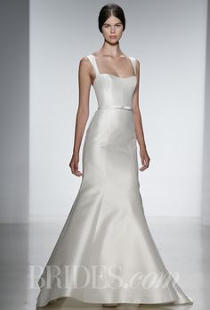 "Brides.com: Amsale - Spring 2014. ""Allen"" silk magnolia fit to flare gown with self belt and straps, Amsale"