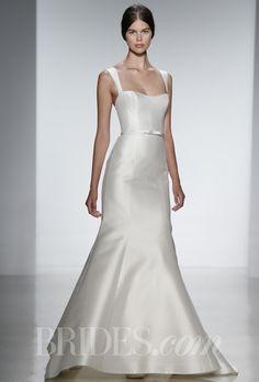 "Brides.com: Spring 2014 Wedding Dress Trend: Sleek and Modern. ""Allen"" silk magnolia fit to flare wedding dress with self belt and straps, Amsale  See more Amsale wedding dresses."