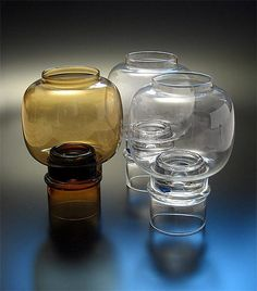 "HEIKKI ORVOLA - Candleholders ""Tuikku"" designed 1974 for Nuutajärvi, in production Finland. Nordic Design, Scandinavian Design, Glass Design, Design Art, Mason Jar Wine Glass, Glass Collection, Finland, Modern Contemporary, Glass Art"