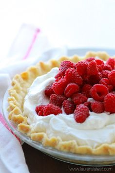 Lemon Cream Pie with Fresh Raspberries   Lauren's Latest