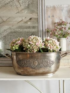 Vintage Oval Tub in silver-plate over brass. Wonderful, warm patina.