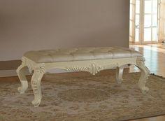 Meridian Furniture Novara Pearl White Bench