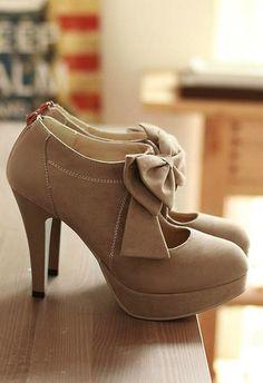 Bow Tie Stiletto High Heel Pumps, cute❤