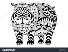 Hand Drawn Zentangle Hippopotamus For Coloring Book For Adult ...