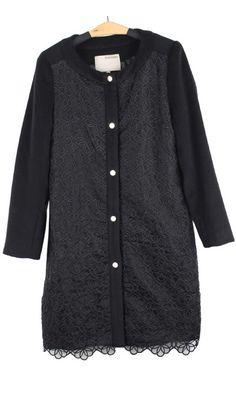 Round neck embroidered cashmere woolen coat 101820