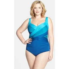 aa313c611e9 Badgley Mischka Ombré Shirred Maillot Swimsuit (Plus Size) ( 128) found on  Polyvore