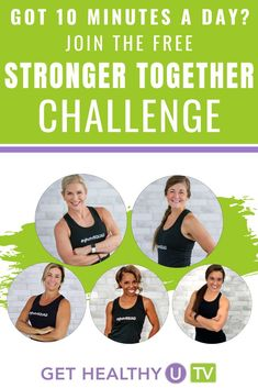 It's time for the Get Healthy U TV 28-Day Stronger Together Challenge! We've got a quick and simple way for you to workout at home, that will only take 10 minutes each day! Join our trainers as they share a variety of their favorite 10-minute workouts in this month long calendar.