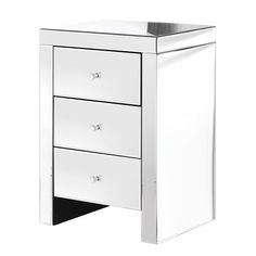 This beautiful and delicate three drawer mirrored bedside table allows for extra storage, making this the ideal piece for a smaller bedroom. Tuck away chargers, books and clothing with ease whilst making a glamorous style statement in the bedroom. Mirror Bedside Table, Bedside Cabinet, Filing Cabinet, Nightstand, Upstairs Bedroom, Extra Storage, Contemporary Furniture, Bedroom Furniture, Drawers