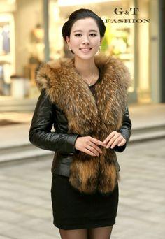 1000styles Rabbit Fox Raccoon Mink Fur Coat Jacket Vest Shawl Sheep Skin Leather | eBay