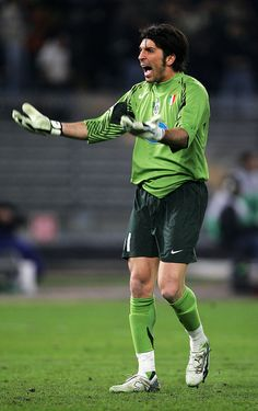 Gianluigi Buffon of Juventus celebrates a goal during the UEFA Champions League First Knock-Out Round Second Leg match between Juventus and Werder Bremen at the Stadio Delle Alpi on March 2006 in. Get premium, high resolution news photos at Getty Images Round Two, Football Gif, Uefa Champions League, Goalkeeper, Superman, Soccer, Sporty, Goals, Legs