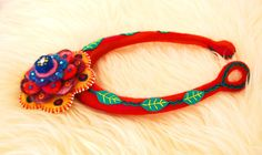 Statement flower collar necklaceneedle felted wool 100% by Nufar