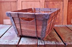 VINTAGE WOOD CRATE, WOODEN PRODUCE BASKET, WOOD POTATO CRATE  So many uses for this unique wooden basket. Used to transport produce like potatoes