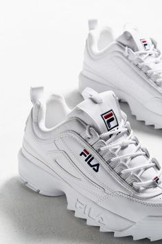 Shop FILA Disruptor Women's Core White Trainers at Urban Outfitters today. We carry all the latest styles, colours and brands for you to choose from right here. Fila White Sneakers, Cute Sneakers, Cute Shoes, Me Too Shoes, Sneakers Adidas, White Shoes Outfit Sneakers, Sneakers Workout, Sneakers Style, Running Sneakers