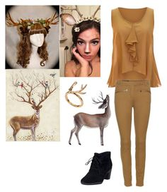 """""""Easy Halloween deer costume"""" by potato-swan77 ❤ liked on Polyvore featuring Loro Piana, Clarks, Pier 1 Imports, women's clothing, women's fashion, women, female, woman, misses and juniors"""