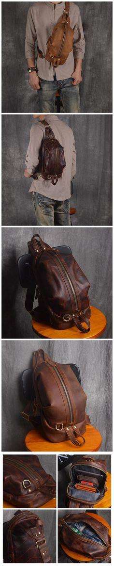 Handmade Men's Full Grain Leather Chest Bag Sling Shoulder Bag Unbalance Leather Backpack NP01 Leather Briefcase, Leather Backpack, Leather Wallet, Fashion Bags, Men Fashion, Photography Bags, Leather Suspenders, Men's Backpack, Messenger Bags