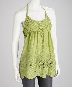 Green Crocheted Halter Top by SR Fashions on #zulily today! $16.99 and so cute.