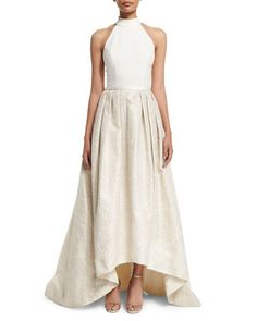 Halter High-Low Gown by Theia at Neiman Marcus.