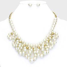 Elegant Ivory Pearl Looped Necklace Set Bridal Wedding Jewelry