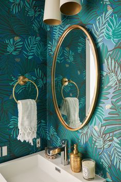 Middle Eastern Maximalism Meets California Minimalism in This Bohemian Venice Home Interiors Powder Room Wallpaper, Bold Wallpaper, Bathroom Wallpaper, Print Wallpaper, Teal And Gold Wallpaper, Teal Wallpaper Living Room, Wallpaper Ideas, Gold Bathroom, Downstairs Bathroom