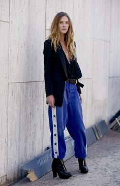 Erin Wason on vintage tracksuit bottoms and chunky heels
