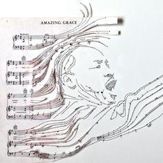 Reconfigured Sheet Music Collages by Erika Iris