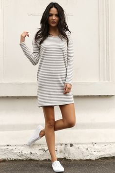 Grey and white striped loose fit back cut out crisscross dress | USTrendy