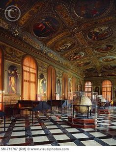 Monumental rooms of the Marciana Library or is it the Sansovino Library? In Venice, Italy