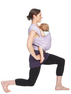 Simple and effective exercises you can do with baby! Moby Wrap Babywearing postpartum workout