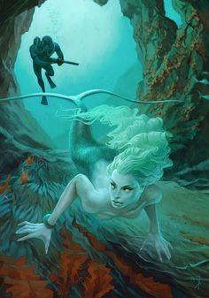 Deeper into the caves she swam leading her predator into a watery grave