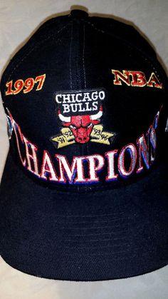 dd3ad69cc75 Vintage 1997 CHICAGO BULLS NBA Basketball Champions Snapback Hat Jordan NBA  RARE