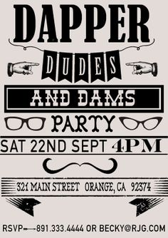 Dapper Dude Vintage Hipster Party Invitation Contact rebeccajones7@icloud.com to purchase